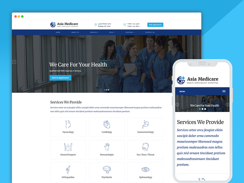 asia multi-speciality hospital website templates