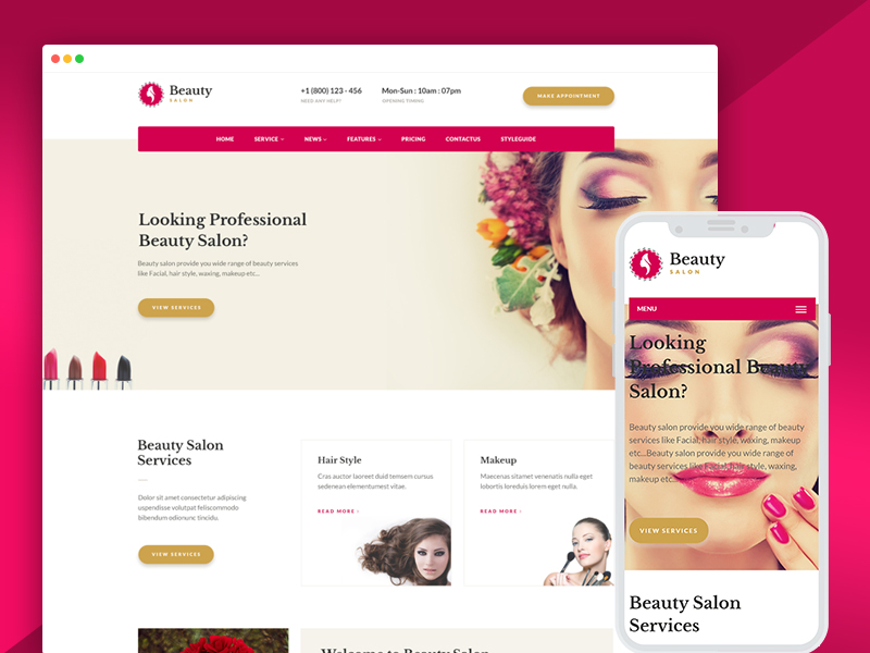 beauty salon website templates