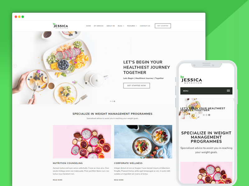 diet nutrition health center website template