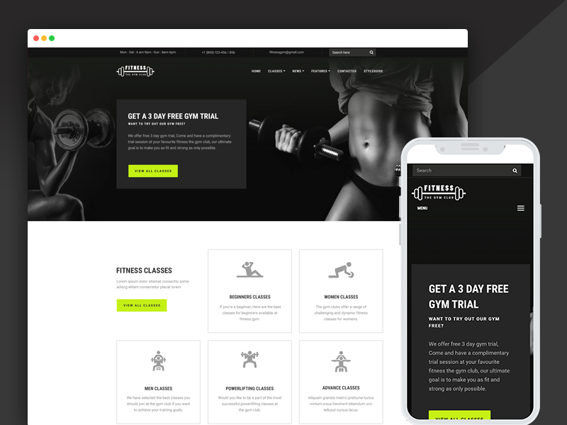fitness gym website templates