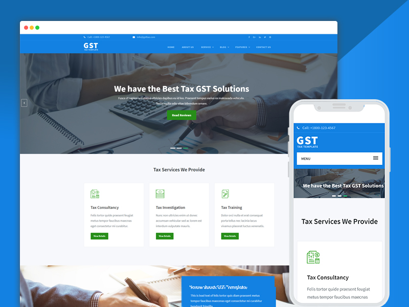 Best bootstrap responsive web design templates 40 ease template gst tax consultant website design template accmission Gallery