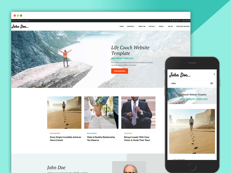 life coach responsive website design templates