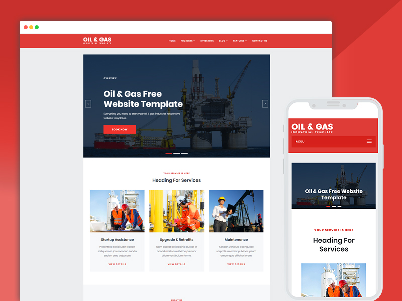 oil and gas company web templates