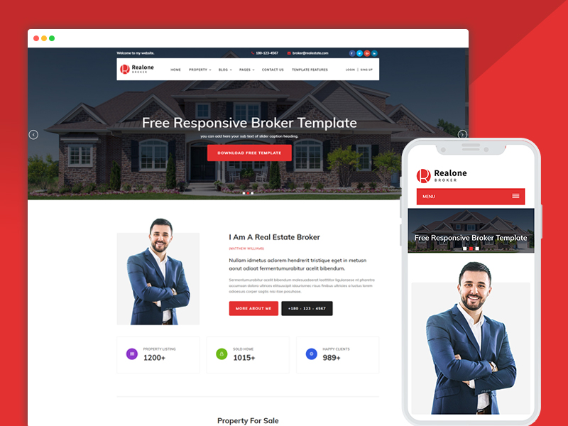 real estate website design responsive template
