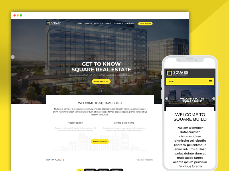 real-estate construction company website templates