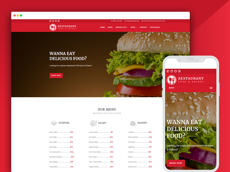 restaurant responsive website bootstrap templates