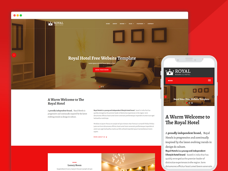 royal hotel rooms booking bootstrap template