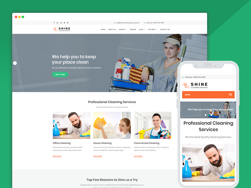 shine cleaning service website responsive template