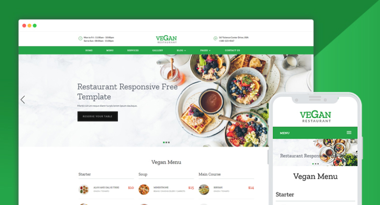 vegan beautiful restaurant website design psd free