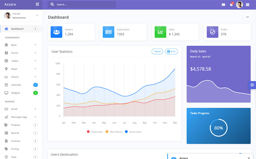 Azzara - Bootstrap Dashboard Admin Template