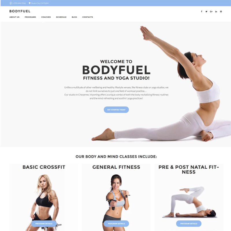 bodyfuel yoga wordpress theme