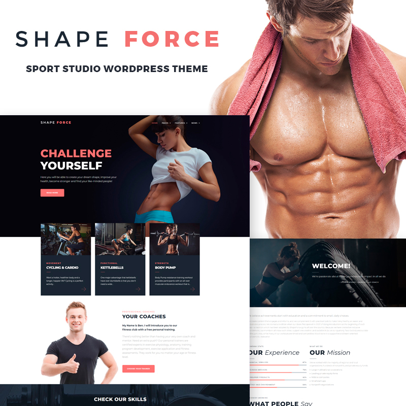 Fitness theme for fitness studio and club