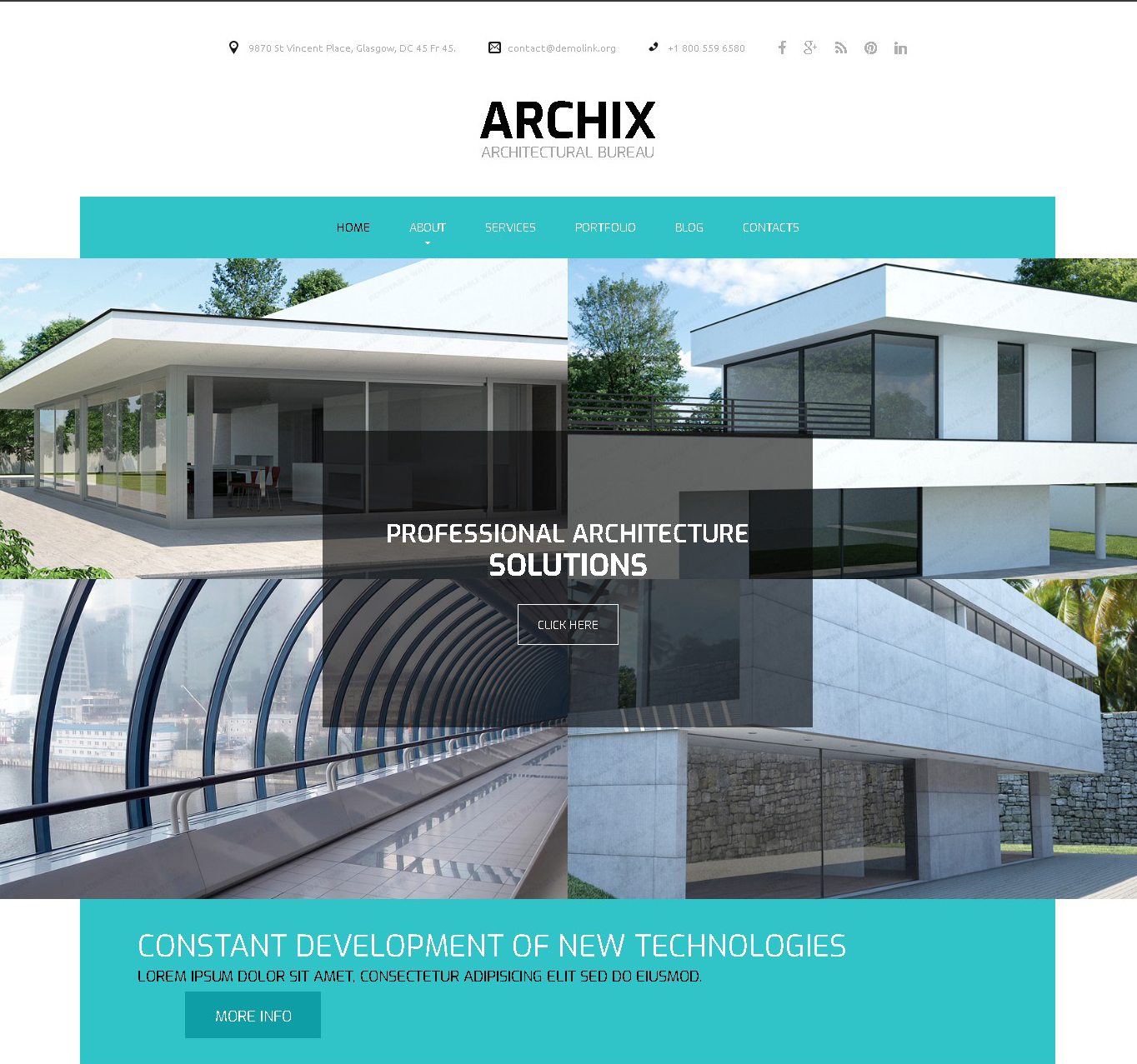archix architecture responsive website template boxed layout