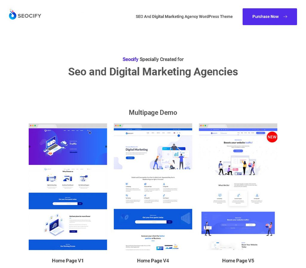 Seocify - SEO And Digital Marketing Agency WordPress Theme