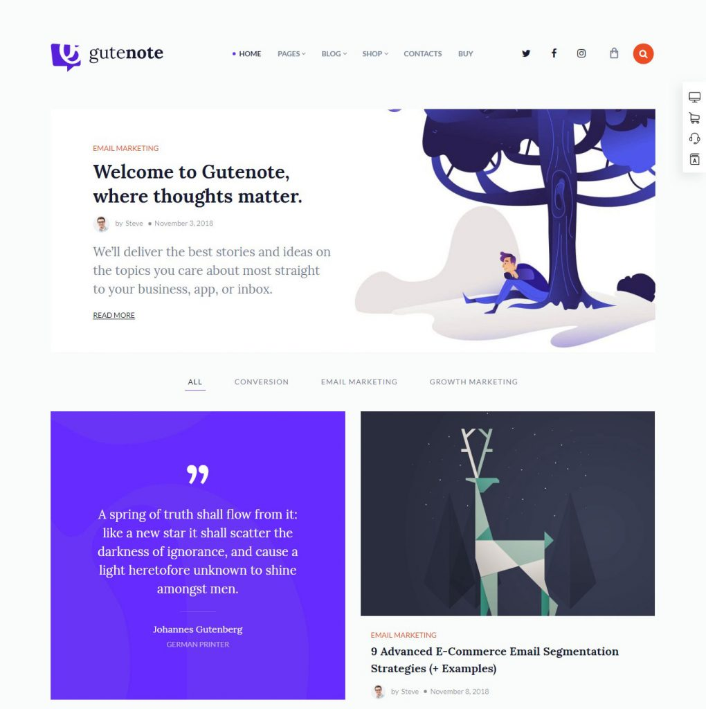 Gutenote - Gutenberg WordPress Blog Theme