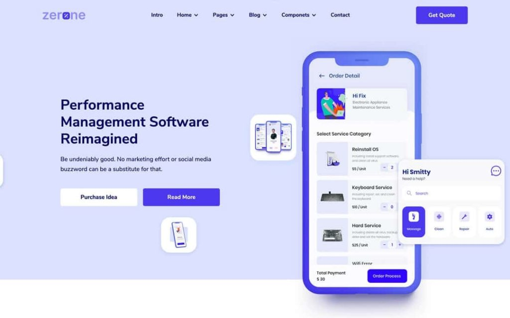 Zerone is suited for technology, and software businesses as well as for, SaaS startups website template.