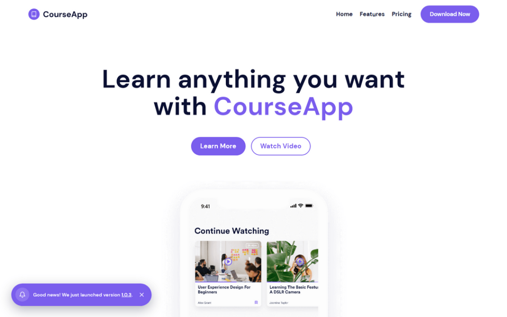 CourseApp is a modern Webflow template that allows you to showcase your app.