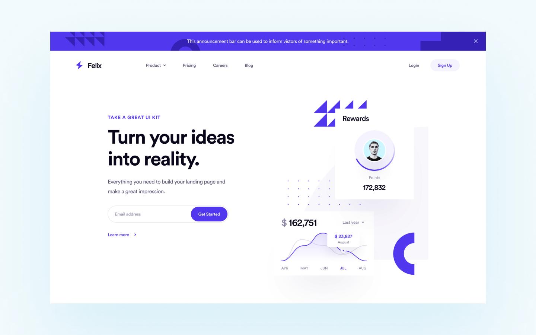 Felix - SaaS Website Template for developer build with webflow