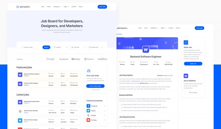 Job Board X - Job Portal Website Template in webflow modern way to build for the web