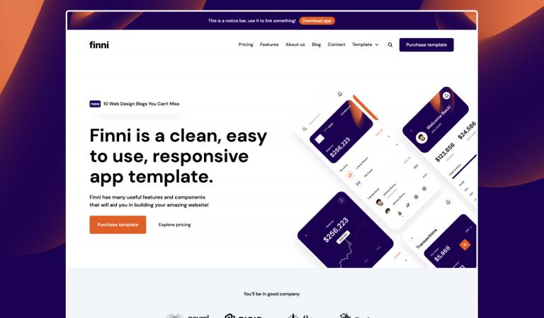 finni app website template for webflow