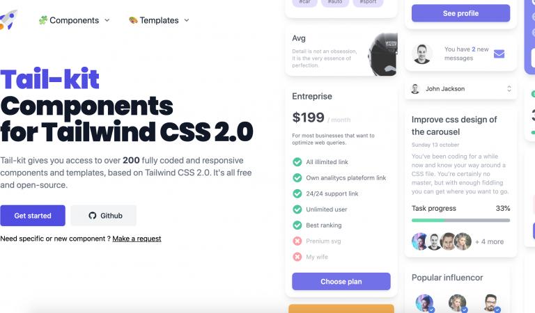 Tail-kit - Tailwind CSS based UI Kit Free
