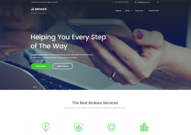 financial services website templates free download