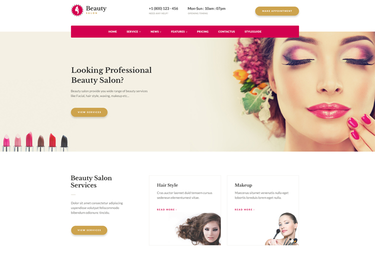 beauty salon websites templates free download ease template