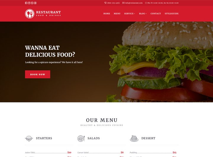 Restaurant Responsive Website Templates Free Download