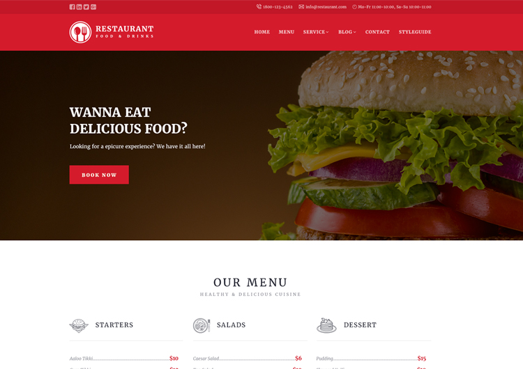 Restaurant Responsive Website Templates Free Download - Ease