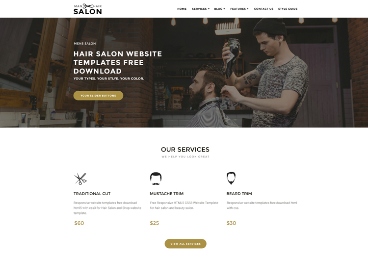 men hair salon bootstrap responsive website templates ease template