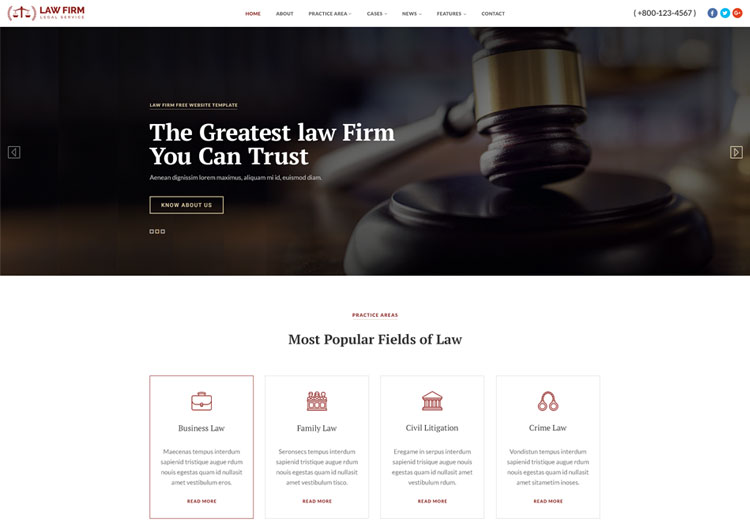 Law Firm Service Responsive HTML Website Template Ease Template