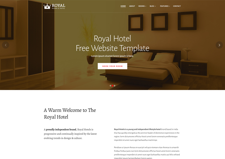 Royal Hotel Rooms Booking Website Template Ease Template - Booking website template