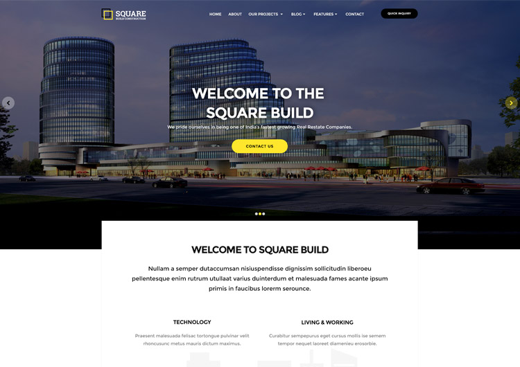 Square A Building Construction Website Template Ease