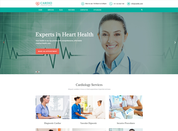 Cardiology Medical Bootstrap Website Templates Free - Ease Template