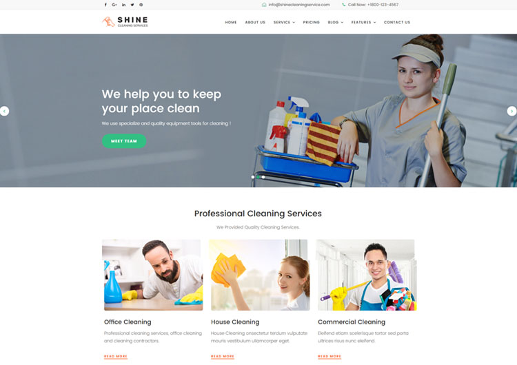 Shine Cleaning Service Website Template