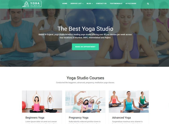 yoga studio yoga website template free