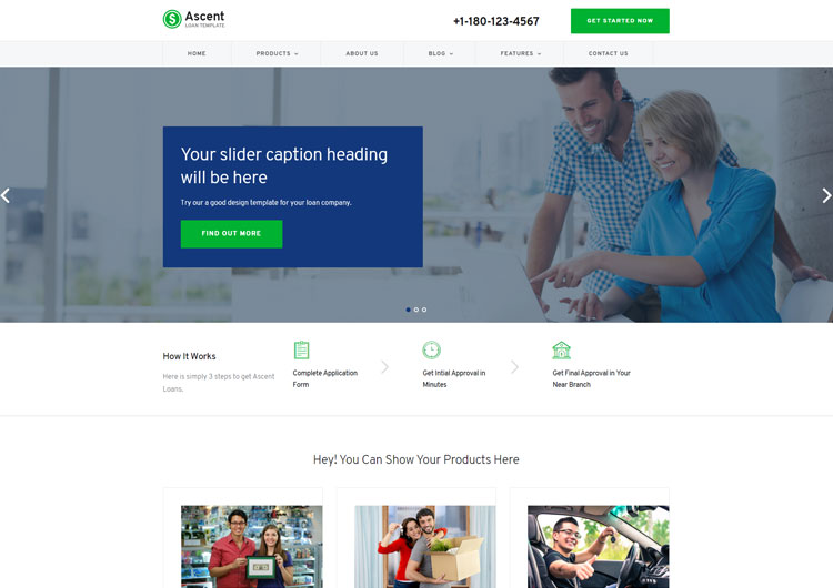 Ascent Loan Business Responsive Website Templates - Ease Template