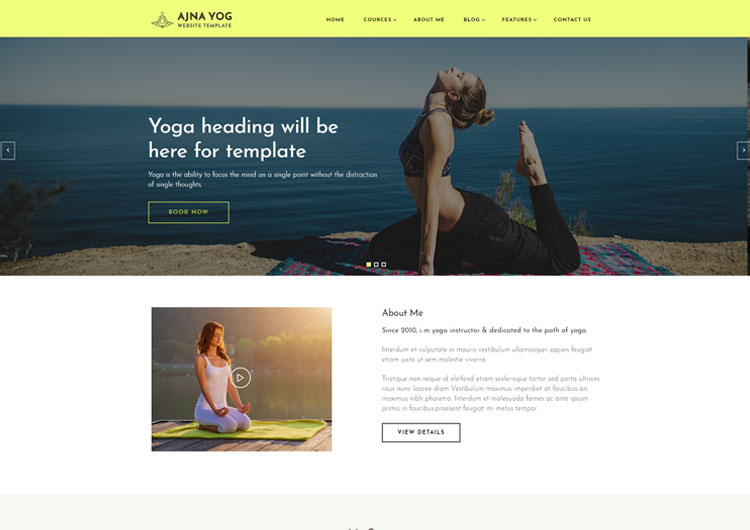 Ajna a Yoga Instructor Responsive Website Templates - Ease Template