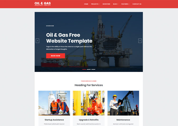 Oil Gas Industrial Responsive Website Templates - Ease Template