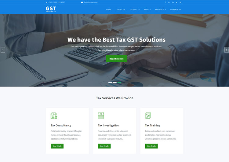 tax consultant accountant business website template ease template