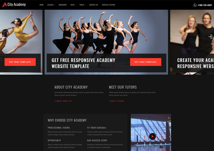 ab9c8c25ebe City Dance Academy Website Templates - Ease Template