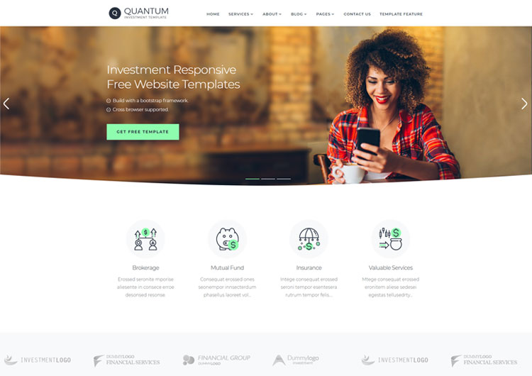 investment company responsive website templates