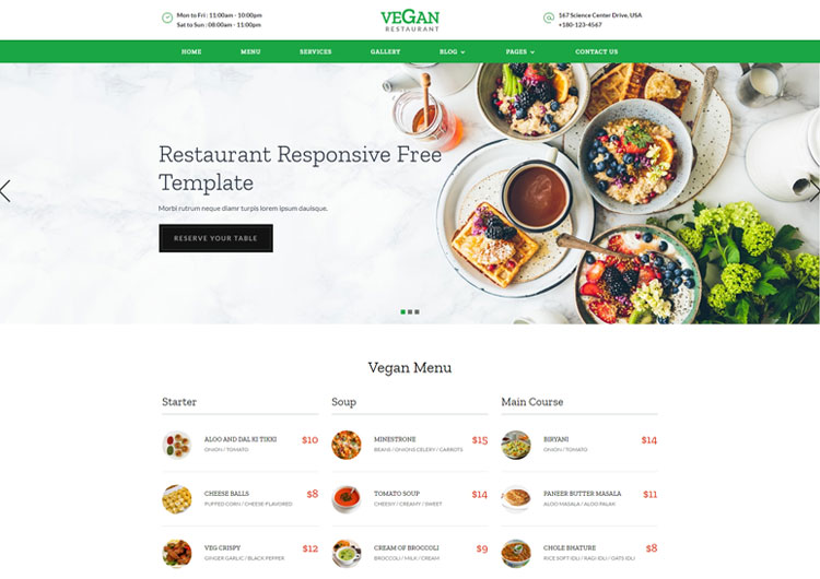 Vegan Restaurant Food Banquet Responsive Templates  Ease Template