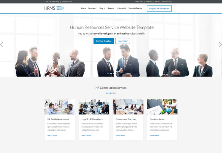 hrms human resource management responsive template