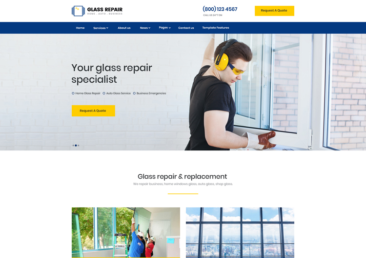 create a website for glass repair home auto windshield website template