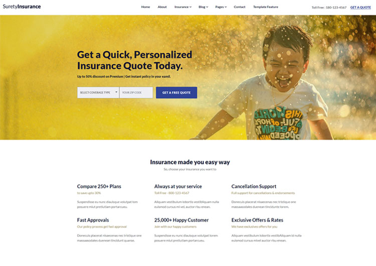 Design a modern insurance company agency responsive template