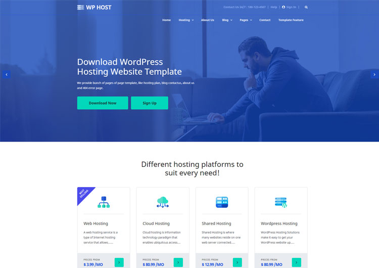 WPHost WordPress Hosting Bootstrap Website Template - Ease Template
