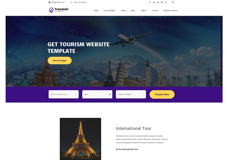 tour travel tourism html website template