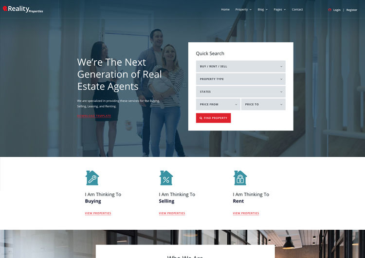 Real Estate Website Template Reality Responsive Ease Template