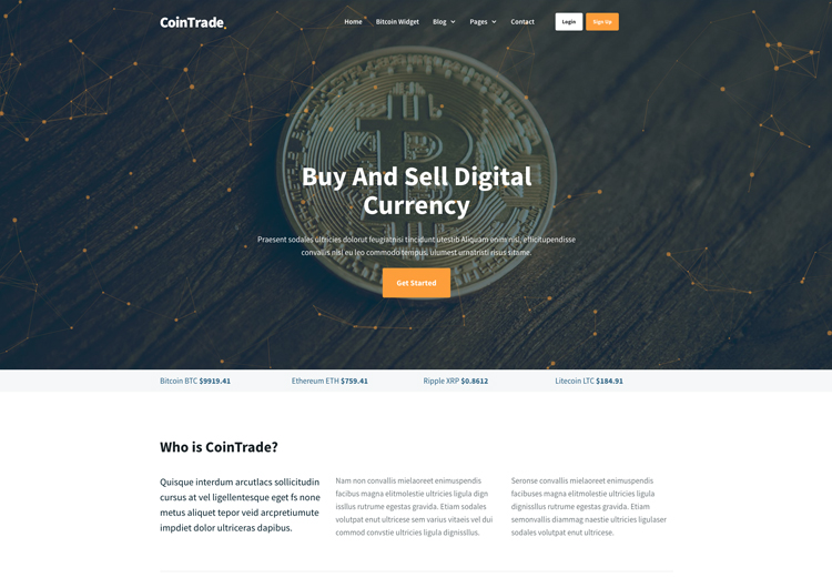 bitcoin cryptocurrency website template amazing design ease template